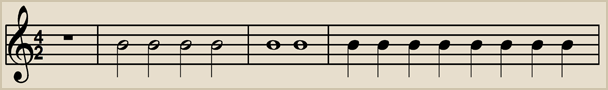 4/2 time has 4 beats to a bar with each beat having a value equal to 1 half note