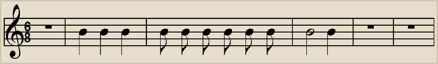6/8 time has 6 beats to a bar with each beat having a value equal to 1 eighth note